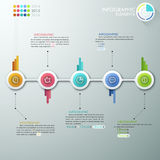 Modern Infographics Process Template. With connected paper circles, icons and text for 5 steps. Vector. Can be used for web design, timeline and workflow layout Vector Illustration