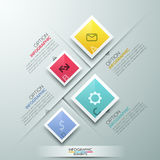 Modern Infographics Process Template. With group of rectangle paper sheets, flat icons and text for 4 options. Vector. Can be used for web design and workflow Vector Illustration