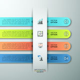 Modern Infographics Process Template. Modern infographics options template with rounded paper ribbons. Vector illustration. Can be used for workflow layout Stock Illustration
