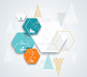 Modern infographics process template with paper hexagones. Stock Image
