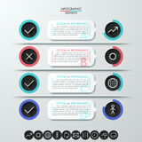 Modern Infographics Process Template. With paper speeches, circles and icons. Vector. Can be used for workflow layout, diagram, number options, step up options Vector Illustration