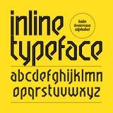 Modern inline typeface, alphabet. Illustration Stock Images