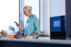 Nice pleasant woman holding her new smartphone. Modern innovations. Nice pleasant woman holding her new smartphone while standing in the kitchen royalty free stock photo