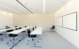 Modern inre av affärskonferensrum med den tomma bildskärmskärmen för presentation Arkivbild