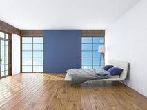 Modern inre av en tolkning för sovrum 3d royaltyfri fotografi