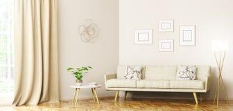 Modern inre av tolkningen för vardagsrum 3d royaltyfri illustrationer