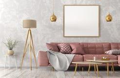 Modern inre av vardagsrum med den rosa tolkningen för soffa 3d stock illustrationer