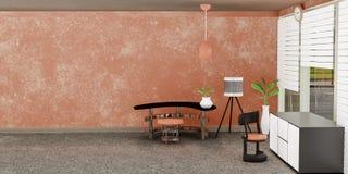 Modern inre av vardagsrum med den vita kabineda framdelen av den orange väggen och en lampa stock illustrationer