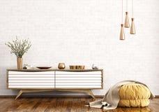 Modern inre av vardagsrum med skänk- och för ottoman 3d rende Royaltyfri Foto