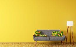 Modern inre av vardagsrum med soffa- och för golvlampa 3d rende Arkivfoton