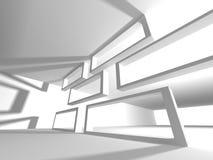 Modern inre bakgrund för vit arkitekturkonstruktion Fotografering för Bildbyråer