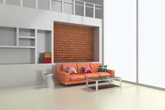 modern inre 3d av vardagsrum med den orange soffan Arkivbilder