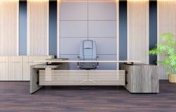 Modern inre för funktionsdugligt rum för kontor med det modern funktionsduglig skrivbordet och kontorsstol Royaltyfria Foton