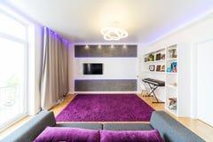 Modern inre för hem- teater Royaltyfri Fotografi