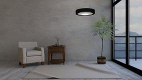 modern inre för vardagsrum 3D och modernt möblemang Royaltyfri Bild