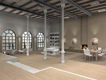 modern inre loft för design Fotografering för Bildbyråer