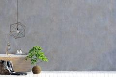 Modern inre med credenzaen väggåtlöje upp stock illustrationer