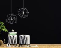 Modern inre med den vadderade stolen, dekoren och lampor väggåtlöje upp vektor illustrationer