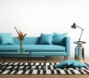 Modern inre med en blå turkossoffa i vardagsrummet Fotografering för Bildbyråer