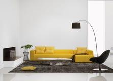 Modern inre med en gul soffa i vardagsrummet Royaltyfri Foto