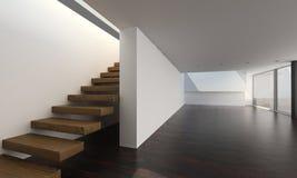 Modern inre med trätrappa | Inre arkitektur Fotografering för Bildbyråer