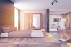 Modern inre suddighet för sovrum och för badrum Royaltyfria Foton