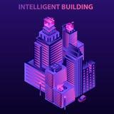 Modern intelligent byggande begreppsbakgrund, isometrisk stil royaltyfri illustrationer
