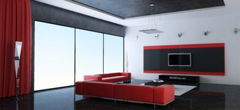 Modern interior. Of a drawing room with red sofas (3d rendering Royalty Free Stock Images