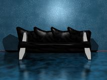 Modern interior. Interior with black elegance sofa Royalty Free Stock Images
