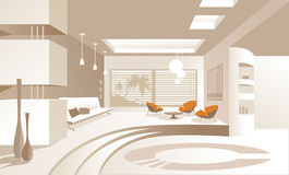 Modern Interior. Illustration in sepia colors Royalty Free Stock Image