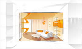 Modern Interior. Illustration in sepia colors Royalty Free Stock Photography