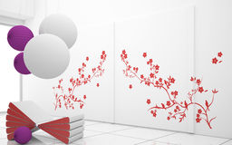 Modern interior. With red decorative flowerl Stock Image