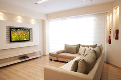 Modern Interior. Modern room with plasma tv Royalty Free Stock Image