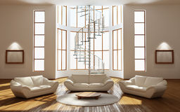 Modern interior. Of a drawing room (3d rendering Stock Image