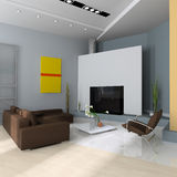 Modern interior. Interior with a fireplace, a sofa and an armchair Royalty Free Stock Photo