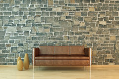 Modern interior. With sofa and bowls Royalty Free Stock Images