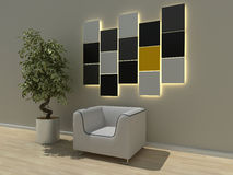 Modern interior. 3d generated render of modern urban interior Royalty Free Stock Image