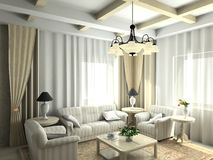Modern interior. 3D render. Living-room stock illustration