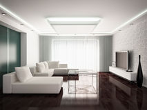 Modern interior. Design of living-room in monochrome tones, 3D render Royalty Free Stock Images