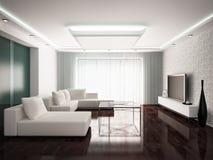 Modern interior. Design of living-room in monochrome tones, 3D render vector illustration