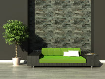 Modern interior. 3d generated render of modern urban interior Royalty Free Stock Photos