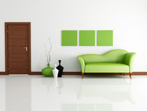 Modern interior. Green fashion couch in modern lounge with wooden door-rendering Royalty Free Stock Images