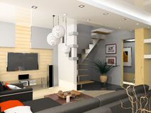 Modern interior. Design (privat apartment 3d rendering Royalty Free Stock Image