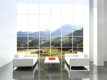 Modern interior. 3D render.Beautiful mountain landscape stock photography