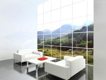 Modern interior. Beautiful mountain landscape stock illustration