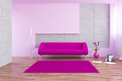 Modern interior. Modern urban interior with sofa and tullips Stock Images