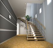 Modern interior. With stair (computer generated image Stock Image