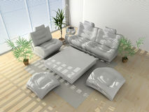 Modern interior. Striped shadows on a white sofa Royalty Free Stock Photos