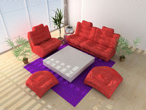 Modern interior. Composition with red sofas in a light interior Royalty Free Stock Photography