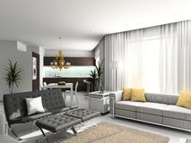 Modern interior. 3D render. Living-room. Exclusive design vector illustration